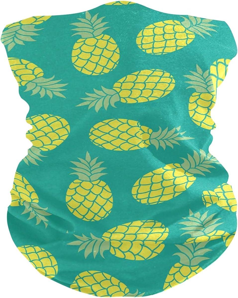 Face Mask Bandana Balaclava Neck Gaiter for Women Men, Pineapple Face Sun Dust Mask Magic Scarf Headwear for Running Fishing Outdoor
