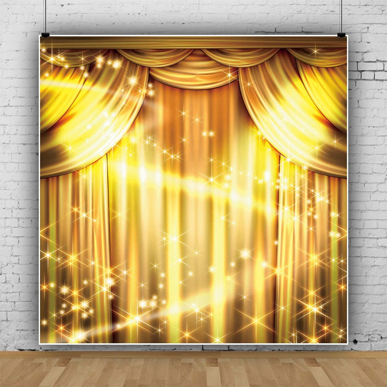 Leowefowa Luxurious Golden Stage Backdrop 10x10ft Vinyl Splendid Golden Curtain Drapes Dreamlike Light Spots Photography Background Video Show Photo Booth Props Event Activities Photoshoot