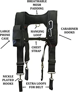 TradeGear Electrician's Belt & Bag Combo - Heavy Duty Electricians Tool Belt Designed for Maximum Comfort & Durability - Ideal for All Electricians Tools (Suspenders)