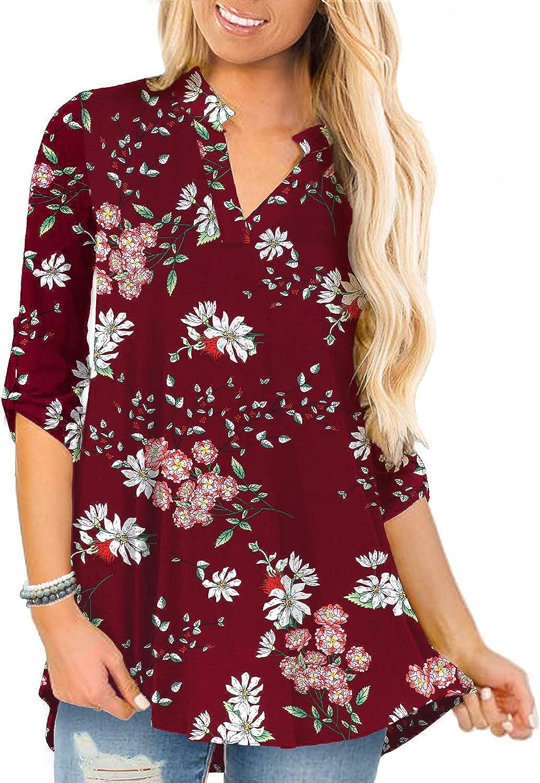 a.Jesdani Women's Tops 3 4 Roll 5 ☆ popular Atlanta Mall Plus V Neck Shirts S Sleeve