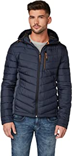 TOM TAILOR For Men Jackets & Jackets Lightweight Quilted Jacket with Hood Knitted Navy, XL