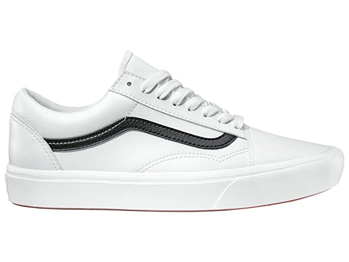 Vintage Sneakers, Retro Designs for Women Vans Comfycush Old Skool Classic Tumble True White Athletic Shoes $74.95 AT vintagedancer.com