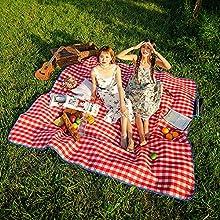 SKYSPER Manta de Picnic 200 x 200cm Alfombra Alfombrilla Colchón Impermeable Plegable Estera Franela para Acampar Camping para Playa Jardín Senderismo Portátil Deportes