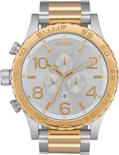 51-30 Chrono A087 - Silver/Gold - 304M Water Resistant Men's Analog Fashion Watch (51mm Watch Face, 25mm Stainless Steel Band)