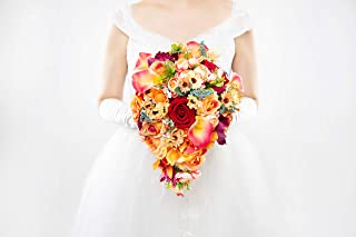 Abbie Home Cascading Bridal Bouquet - Red Rose Champagne Orange Gradient Calla Lily Bride Flowers for Garden Wedding (A Cascading Bouquet)