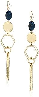 Danielle Nicole Women's Sapphire Linear Drop Earrings, Worn Gold/Blue, One Size