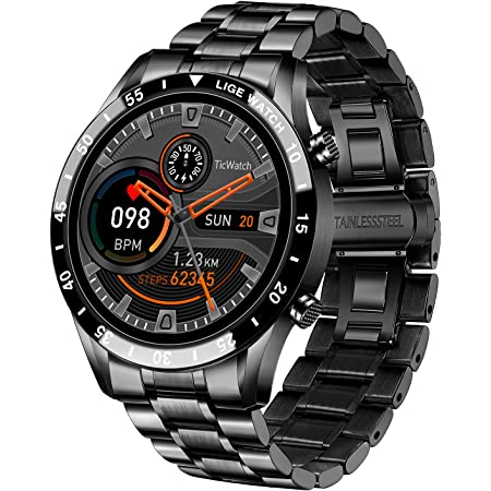 """LIGE Smart Watch for Men, Bluetooth Calls Voice Chat Fitness Tracker with Blood Pressure Heart Rate Sleep Monitor,1.3"""" Full Touch Screen Activity Trackers IP67 Waterproof Pedometer for iOS Android"""
