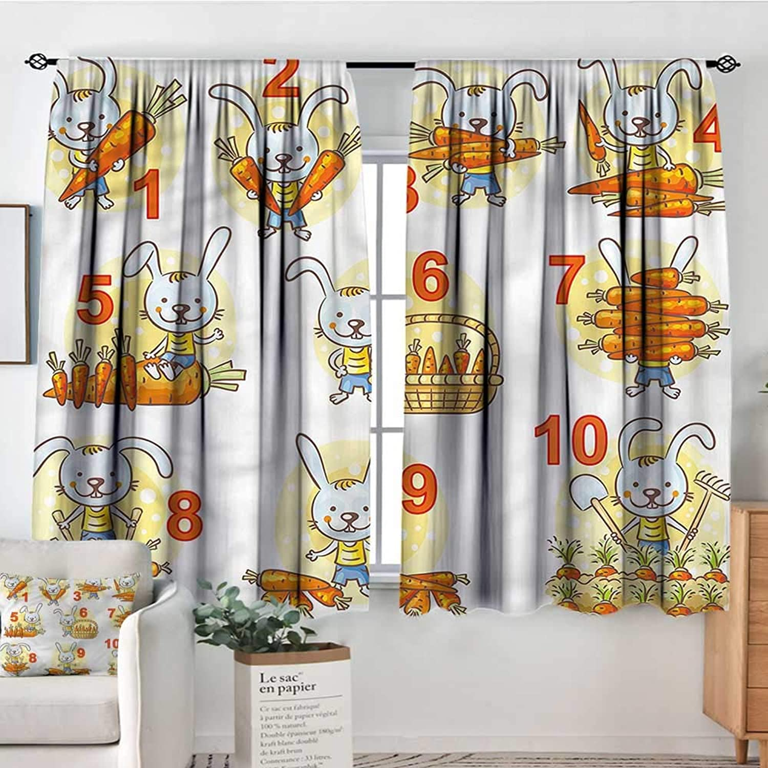 Sanring Mathematics Classroom,Modern Kids Curtain Rabbit Carred 42 X63  Decorative Curtains for Iving Room