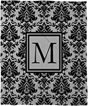 Manual Woodworkers & Weavers Duvet Cover, Twin, Monogrammed Letter M, Black and Grey Damask