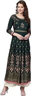 ishin Women's Rayon Green Printed Anarkali Kurta