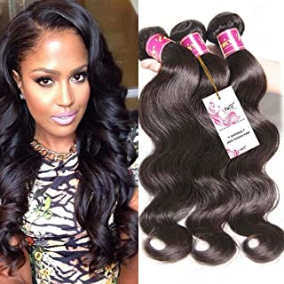 UNice Hair Icenu Series 20 22 24inch Brazilian Remy Human Hair Weave 3 Bundles Deal Unprocessed Virgin Brazilian Body Wave Hair Weft Extensions Natural Color