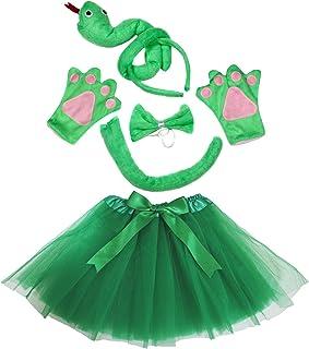 Petitebelle Serpiente Diadema Pajarita Cola Guantes Verde tutú Juego de Disfraz de niña cumpleaños o Fiesta