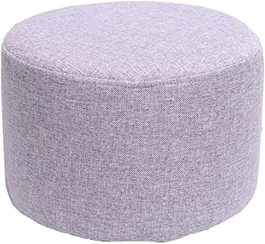 WZ Ottomans Footstool Upholstered Ottoman Round Pouffe Children's Toy Stool Living Room Bedroom (Color : Purple)