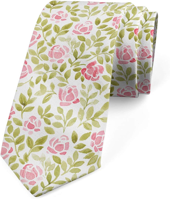 Lunarable Men's Tie, Watercolored Roses, Necktie, 3.7