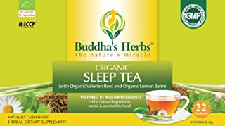 Buddha's Herbs Premium Organic Sleep and Relaxation tea with Valerian Root , Lemon Balm and Chamomile - 44 Tea bags (Pack ...