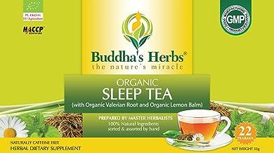 Buddha's Herbs Premium Organic Sleep and Relaxation tea with Valerian Root , Lemon Balm and Chamomile - 44 Tea bags (Pack ...