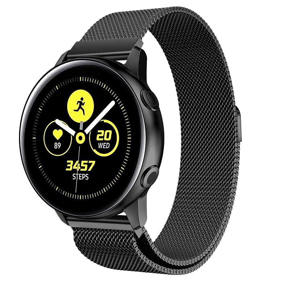 温帯世紀主要な【KANDOX】 for Samsung Galaxy Watch Active ベルト 交換用バンド ステンレス オシャレ ストラップ 多色選択 調整可能 対応 Samsung Galaxy Watch Active (ブラック)