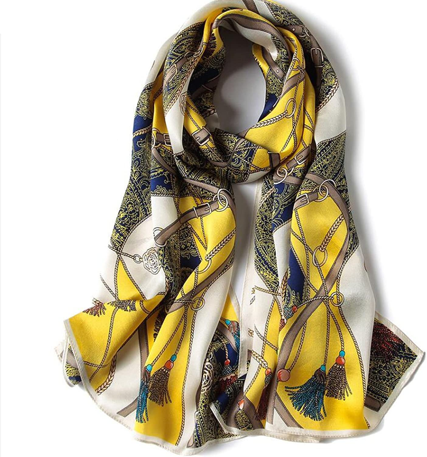 GAO Silk Scarf Printing Embroidery Embroidered Silk Scarf Women 100% Silk Four Seasons Long Style Wild Sunscreen Shawls Beach Towels (Length  170  53cm, Packing of 1) (color   I)