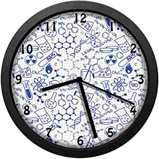 Science Chemistry Geometry Math Nerd Geek and Genius Themed Design Artwork,Blue and Ivory,Black Wall Clocks Nice Gifts or Office Home Unique Decorative Clock 10in with Frame
