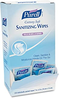 PURELL Cottony Soft Hand Sanitizing Wipes, 120 Individually Wrapped Wipes in Self-Dispensing Display Box - 9027-12