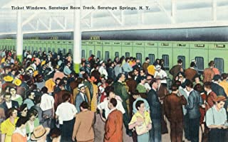 Saratoga Springs, New York - Crowds at Race Track Ticket Windows 35369 (12x18 SIGNED Print Master Art Print - Wall Decor Poster)