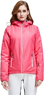 Helzkor Women's Waterproof Ski Snow and Wind Jacket with Hood - Pink S