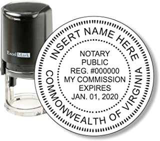 Round Notary Stamp for State of Virginia - Self Inking Stamp - Features The ExcelMark Double Sided Ink Pad for Longer Product Life