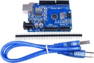Quimat UNOR3 ATmega328P CH340 Development Board Compatible with ArduinoIDE Development Kit,  Microcontroller includes USB Cable, Straight Pin Header 2.54mm Pitch Robot Parts