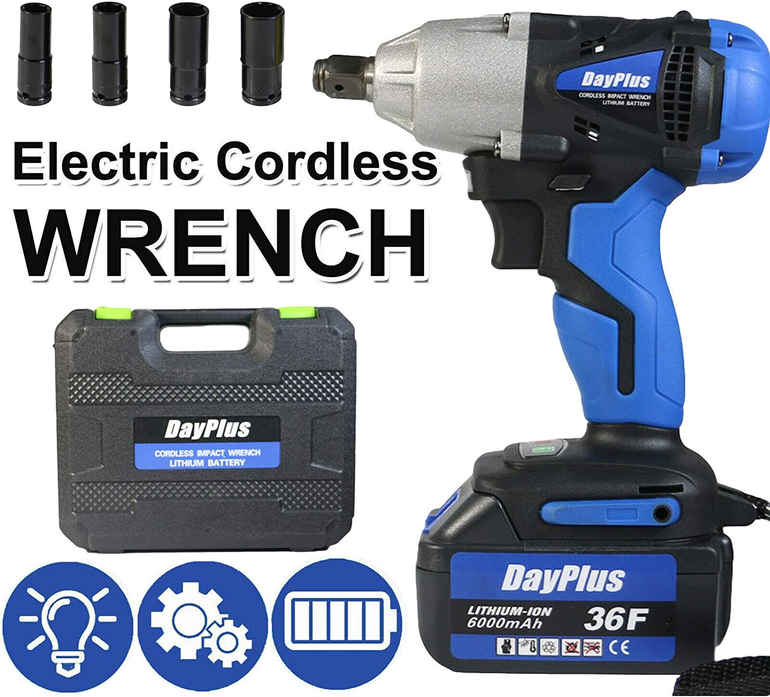 """Cordless Socket Wrench 1 2"""" Genuine Drive with 17mm Sockets 4 5% OFF 14mm 19mm"""
