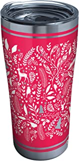 Tervis 1335008 Foliage And Fern Stainless Steel Insulated Tumbler with Clear and Black Hammer Lid, 30 oz, Silver