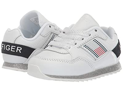 Tommy Hilfiger Kids Jax Gem Jogger (Toddler) (White Mesh/Smooth/Navy) Kid