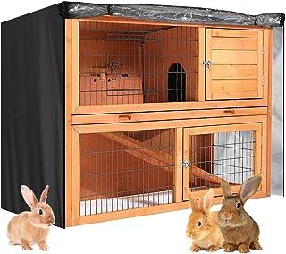 "Double Rabbit Hutch Cover Outdoor Bunny Hutch Cover Small Animal Cage Cover for Double Decker Rabbit Hutch 48"" L x 20"" W x..."