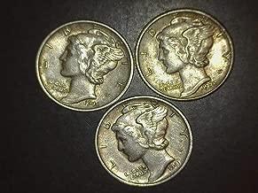 1939 1941 1944 Mercury Dimes - Set of 3 Coins - 10c AU/BU US Mint