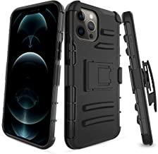 Plus Mi Life Designed Compatible with iPhone 12 Pro/Max/Mini Case with Stand Belt Clip Hybrid Cover (Black, iPhone 12 Pro ...