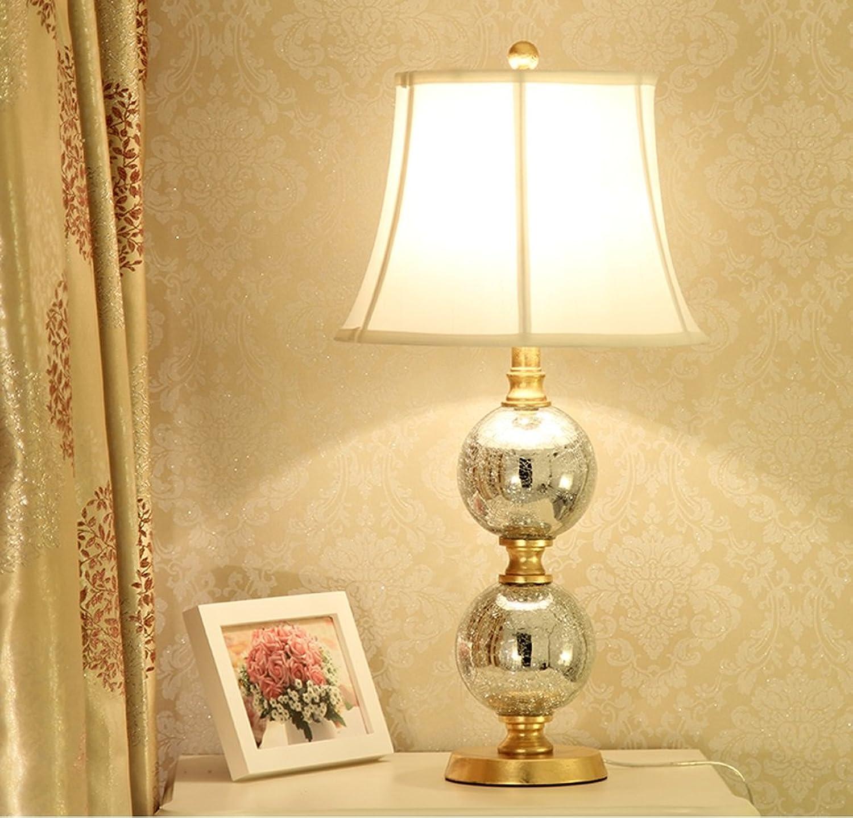 GZEALL Europäische Glas Tischlampe Wohnzimmer Schlafzimmer Nachttischlampe Retro Hotel Tischlampe Schalttaste Schalter E27 Lichtquelle B07GKVVKMF       Schön geformt