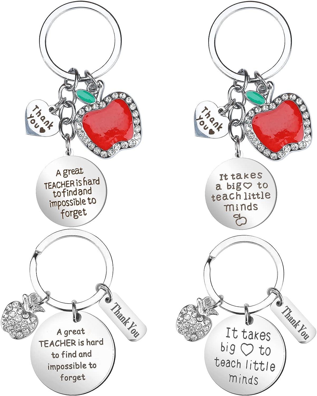 Teacher Appreciation Keychain Gift for Women, 4 PCS Thank You Heart Pendant Keychain Set Crystal Jewelry Gift for Women Teachers, Graduation Birthday Teachers' Day Gifts