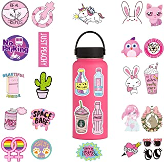 Waterproof Pink Stickers for Hydro Flask(100pcs),Girl Stickers for Laptop Teens Scrapbooking Skateboard Bicycle Luggage Guitar Bike Cute Cartoon Decals