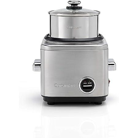 Cuisinart CRC400E Cook & Steam, cuiseur à riz compact et cuiseur à vapeur, acier inoxydable brossé, capacité de 400g