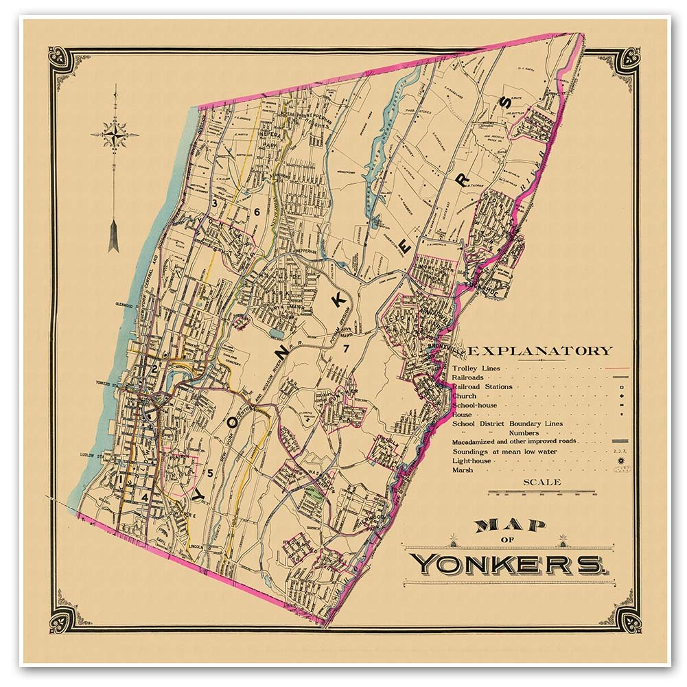Amazon Com Antiguos Maps Transportation Street Map Of Yonkers New York Circa 1900 Measures 24 In X 24 In 610 Mm X 610 Mm Posters Prints