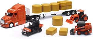 New-Ray Kubota Farm Tractors & Peterbilt Flatbed Semi Playset