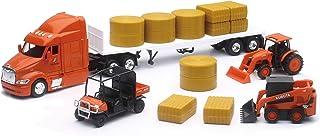 New-Ray Kubota Farm Tractors & Peterbilt Flatbed Semi Playset