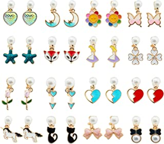 SOTOGO 16 Pairs Clip On Earrings Play Earrings with Pearl Earrings for Little Girls and Women