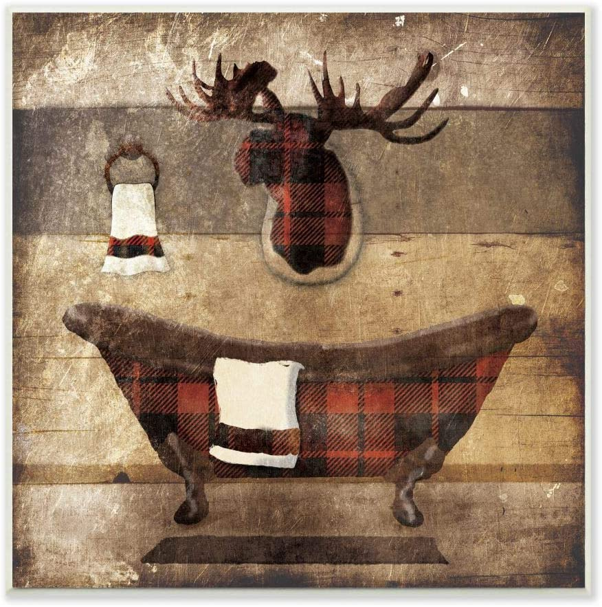 Stupell Industries Limited time trial price Plaid Cabin Challenge the lowest price Bathroom Country Wood De Textured