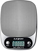 kilokelvin Digital Kitchen Scale Multifunction Food Scale, 22 lb 10 kg Stainless Steel (Batteries Included Silver)