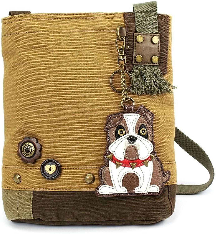 Chala Womens' Canvas Patch Crossbody Handbag  Bulldog   Brown