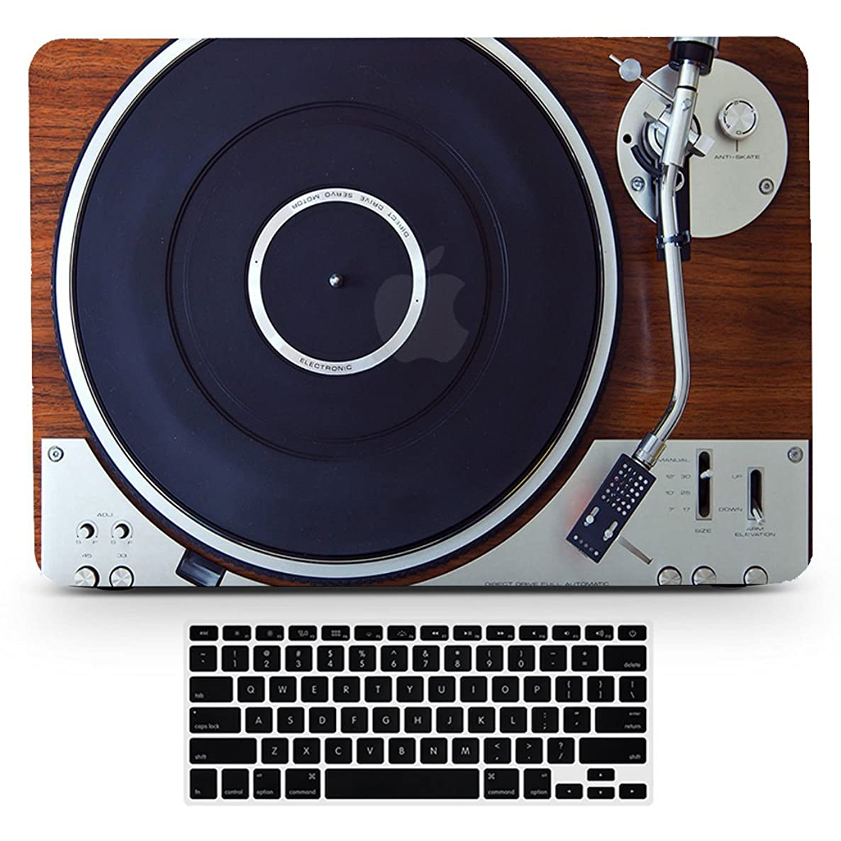 Bizcustom Macbook Air13 Vintage Wood Music Player Design Paint Hard Rubberized Case and Black Keyboard Cover for Macbook Air 13/13.3 Inches Model Number A1466/A1369