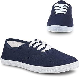 أحذية التنس Twisted للنساء | أحذية رياضية منخفضة الارتفاع برباط لأعلى، طراز Plimsoll كلاسيكي كاجوال, (كحلي), 39 EU