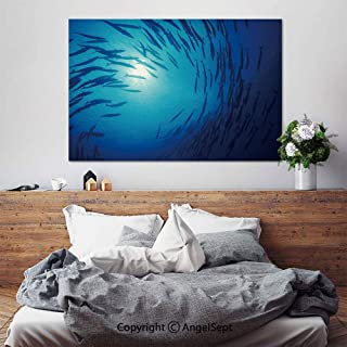 SfeatruAngel_SOSUNG Framed Wall Art Canvas Painting,Blue Twirl(24