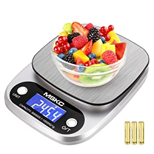 Food Kitchen Scale Digital Grams and Ounces Weight for Cooking,Baking,Coffee,Keto Measuring Electric Meal Prep Scale,MAX 22lb/10kg 0.1g/0.1oz Small Balanza de cocina,Mini Mail Packages Shipping Scale