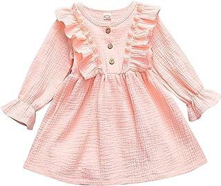 AmzBarley Toddler Baby Girls Linen Dress Short Flying Sleeve Ruffled Princess Girl Casual Buttons Dresses Clothes